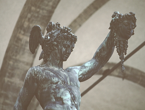Cellini's Perseus, pre-restoration: head and upper torso, front