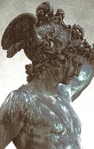 Cellini's Perseus, pre-restoration: head and upper torso, front right