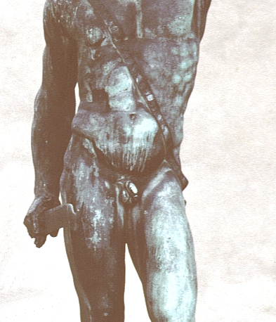 Cellini's Perseus, pre-restoration: torso and upper legs, front