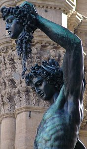 Cellini's Perseus: front left upper torso and faces of Perseus and Medusa, huge