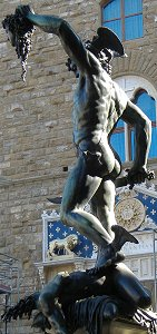 Cellini's Perseus: back left view, sunlit