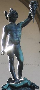 Cellini's Perseus: front view with glowing sword