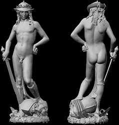 Donatello's David: laser scan, grey, front and back