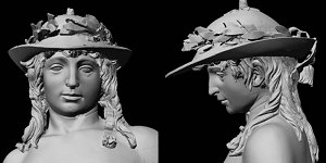 Donatello's David: laser scan, grey, head and shoulders, front and left profile