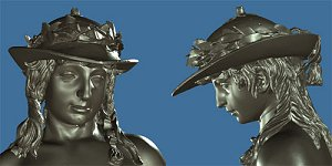 Donatello's David: laser scan, metallic, head and shoulders, front and left profile