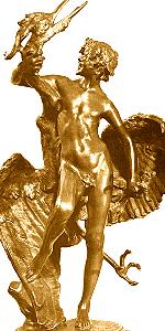 Frederick Macmonnies - Faun and Infant Heron  - gilt bronze statuette