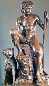 Shepherd Boy with his Dog by Bertel Thorvaldsen - bronze with fig leaf